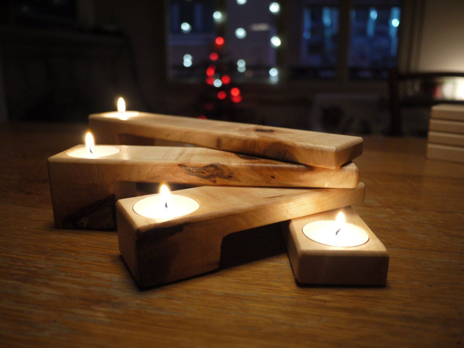 Photo of Advent wreath candle holder / wooden candle holder / wooden candelabra / Christmas decoration / gift for her / Thanksgiving decor
