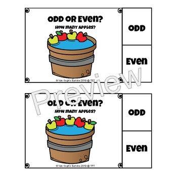 Count & Circle Apples Odds & Evens Task Cards Task cards