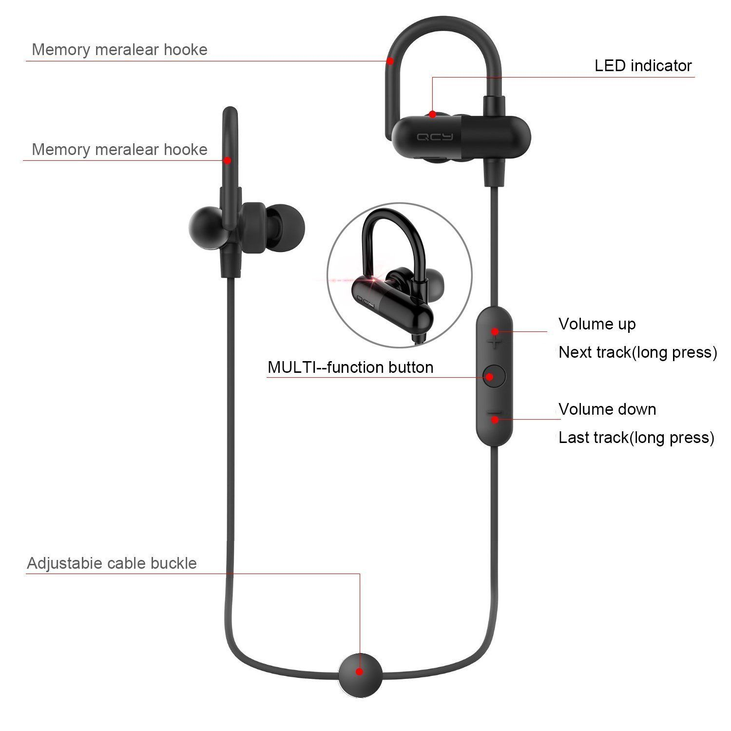 Amazon.com  QCY QY11 Bluetooth Headphones with Memory Metal Secure Ear  Hooks Wireless In 8e484f4753