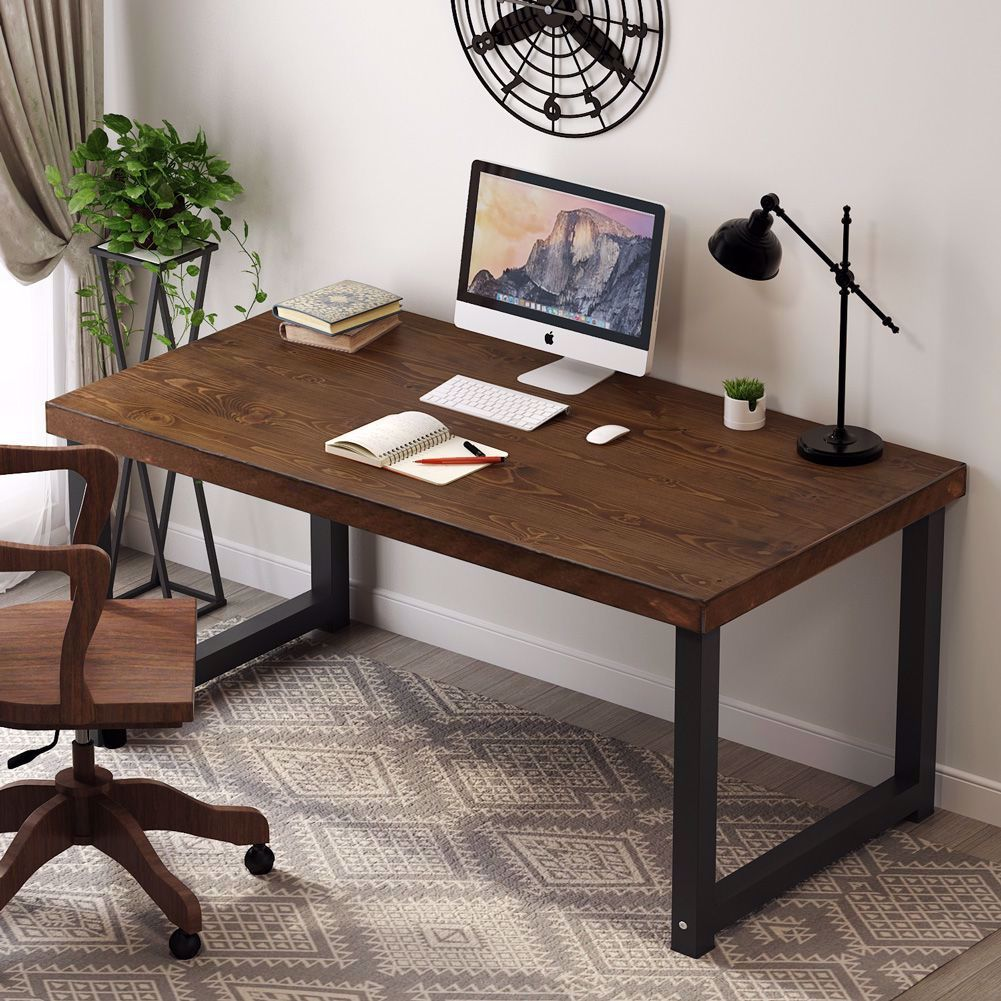Tribesigns Solid Wood Computer Desk 55 Inch Large Office Desk In 2020 Rustic Computer Desk Wood Computer Desk Solid Wood Desk
