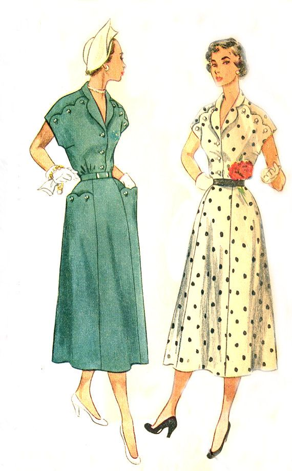 Vintage 50s Plus Size Dress Pattern By Treazureddesignz On Etsy