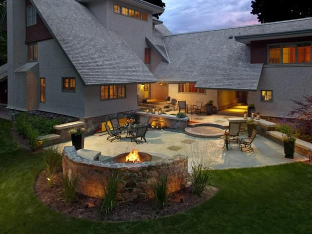 Outdoor Patio Ideas With Fire Pit In Backyard