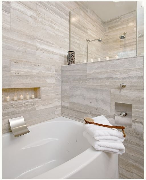 Vein cut travertine bathroom tiles cheryl kees clendenon - Badezimmer travertin ...