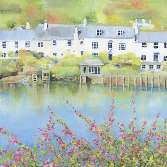 Card - By the Creek, newton ferrers, harbour houses, fine art cards, devon, british isles #britishisles