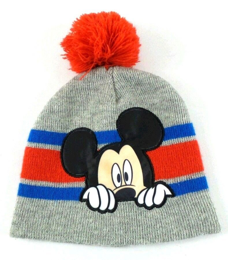 Disney Mickey Mouse Kids Beanie Hat Pom Pom Hat Grey   Red OSFM  Disney   Beanie 31efb2f7fa8