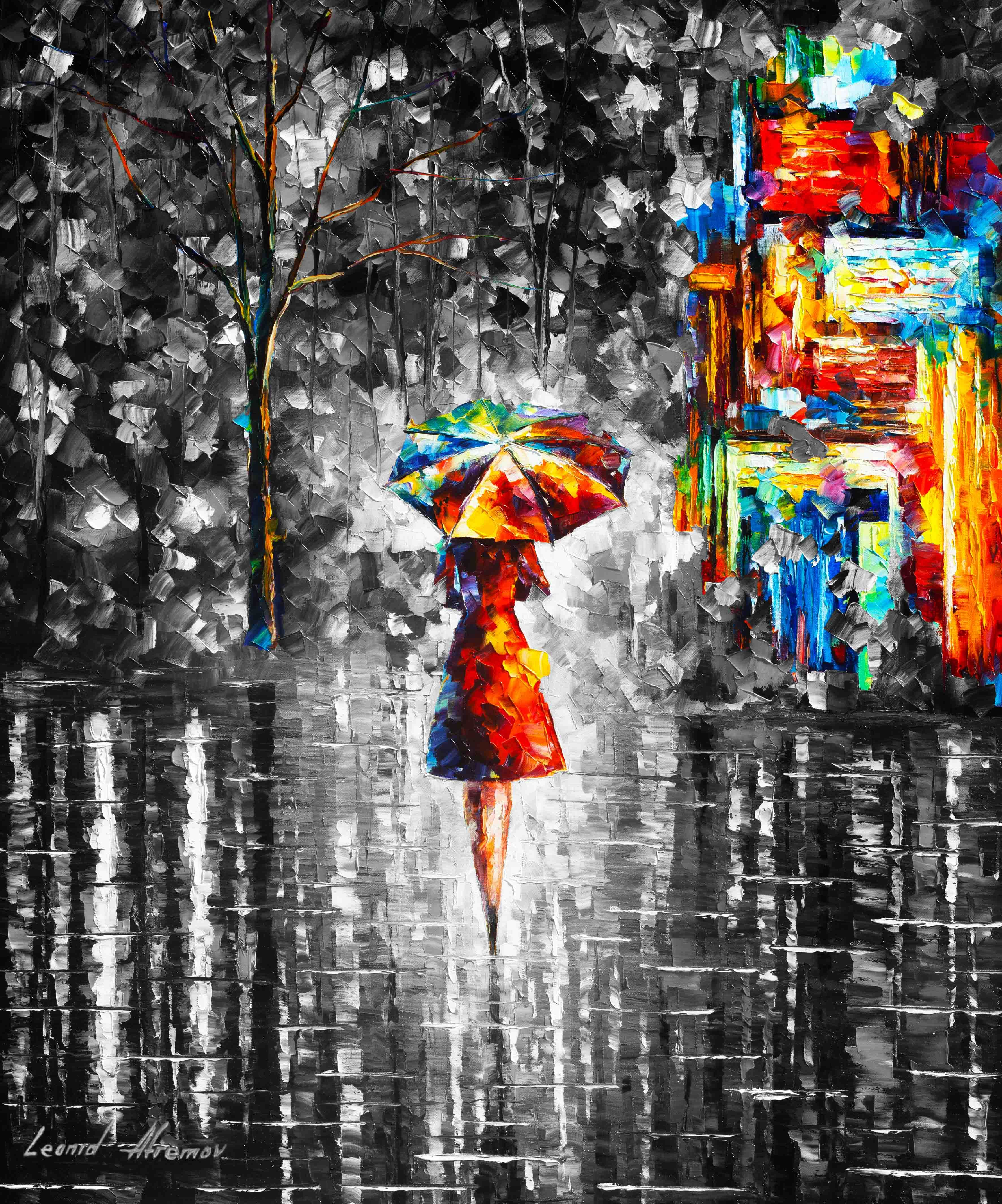 RAIN PRINCESS WITH UMBRELLA B&W — PALETTE KNIFE Oil