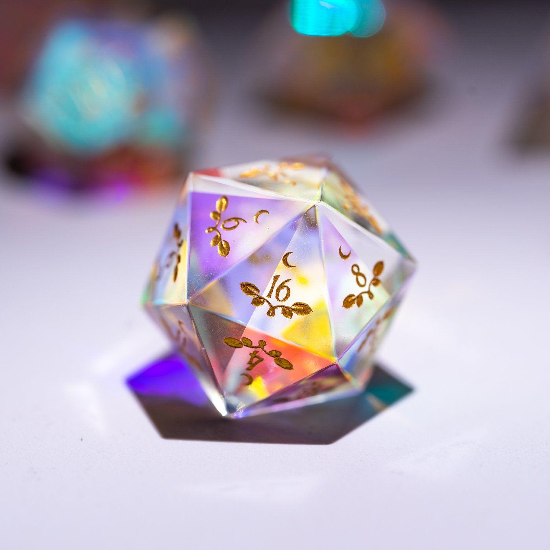 Urwizards Dnd Dichroic Prism Glass Engraved Dice Set Plant Vine