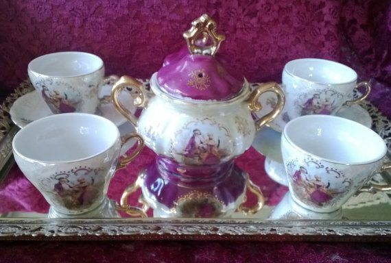 Vintage Porcelain Chocolate/Tea Set Lustre Ware *Red Letter Japan Hallmark* Courting Couple 9 Pieces Great Condition Partial Set