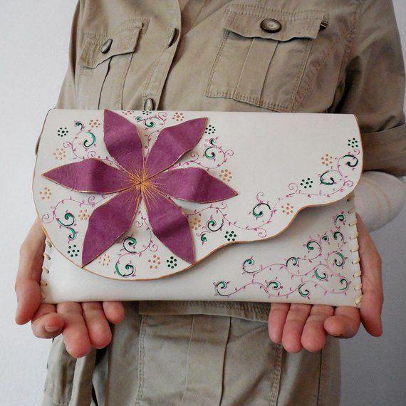 ddb2ff27f Wedding clutch Bridesmaind clutch Purple flower clutch Painted Ivory clutch  Leather flower evening p