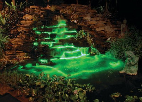 Awesome green led lighting in pool design led lighting projects outdoor waterfall with under water rope lights mozeypictures Images