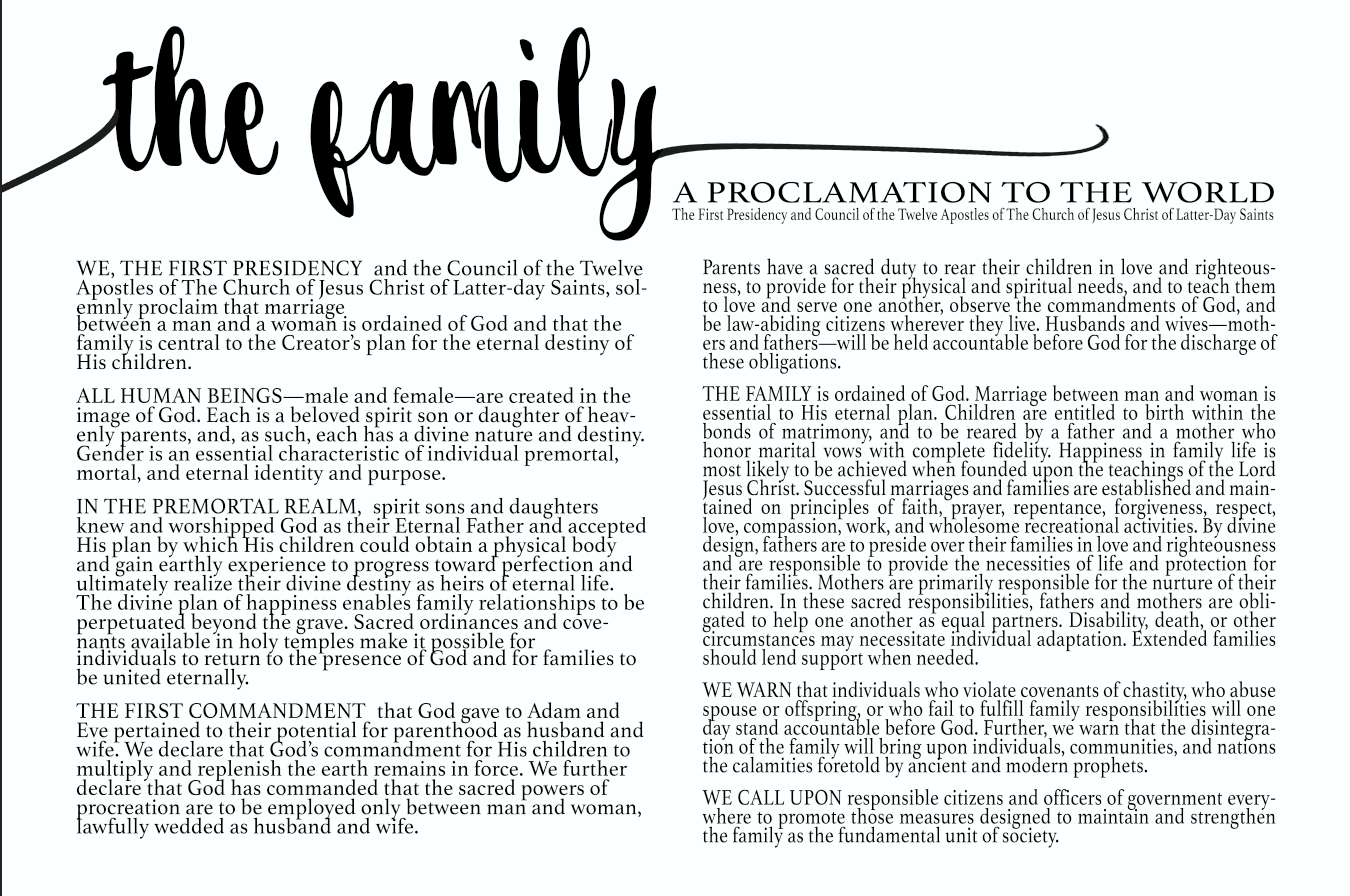 image regarding Family Proclamation Printable named Significant printable PDF of The Spouse and children Proclamation. Church