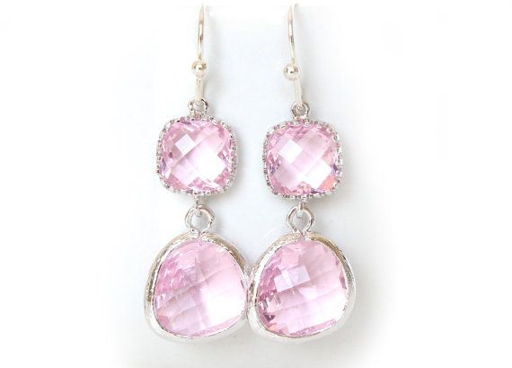 Crystal drops dangle earrings. Crystal pink connector and drop. Perfect gift for pink weddings & bridesmaids. Materials: ♥Hook: Silver Plated