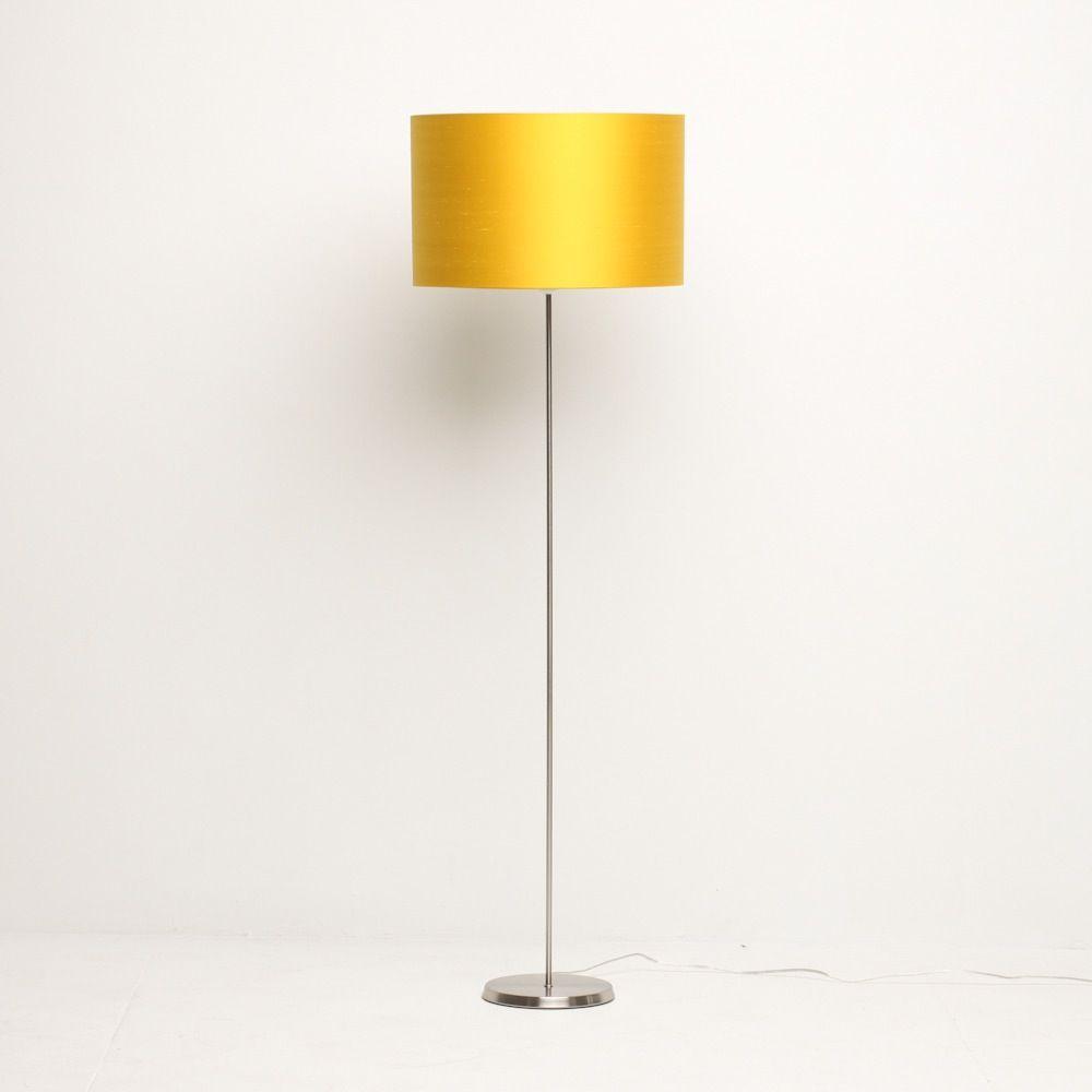 Yellow Silk Drum Lampshade Displayed On Floor Standing Lamp Stand Standing Lamp Floor Standing Lamps Lamp