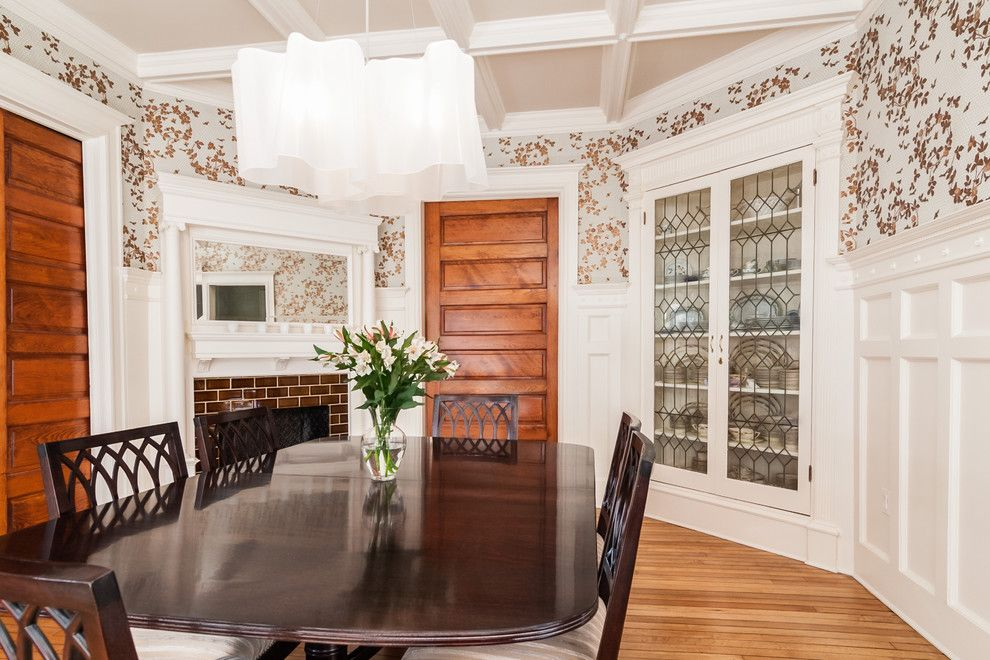 corner china cabinet in Dining Room Victorian with built-in mirror ...