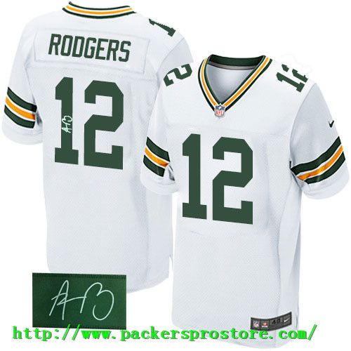 10d2ae55a ... Nike NFL 12 Green Bay Packers Aaron Rodgers White Elite Autographed Mens  Jersey ...
