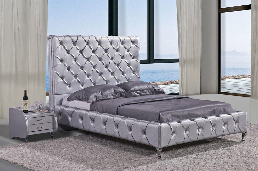 Duplo Black Leather Modern Bed Bed Tufted Bed Modern Bed