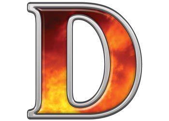 d reflective letter d with real fire reflective letter d with real