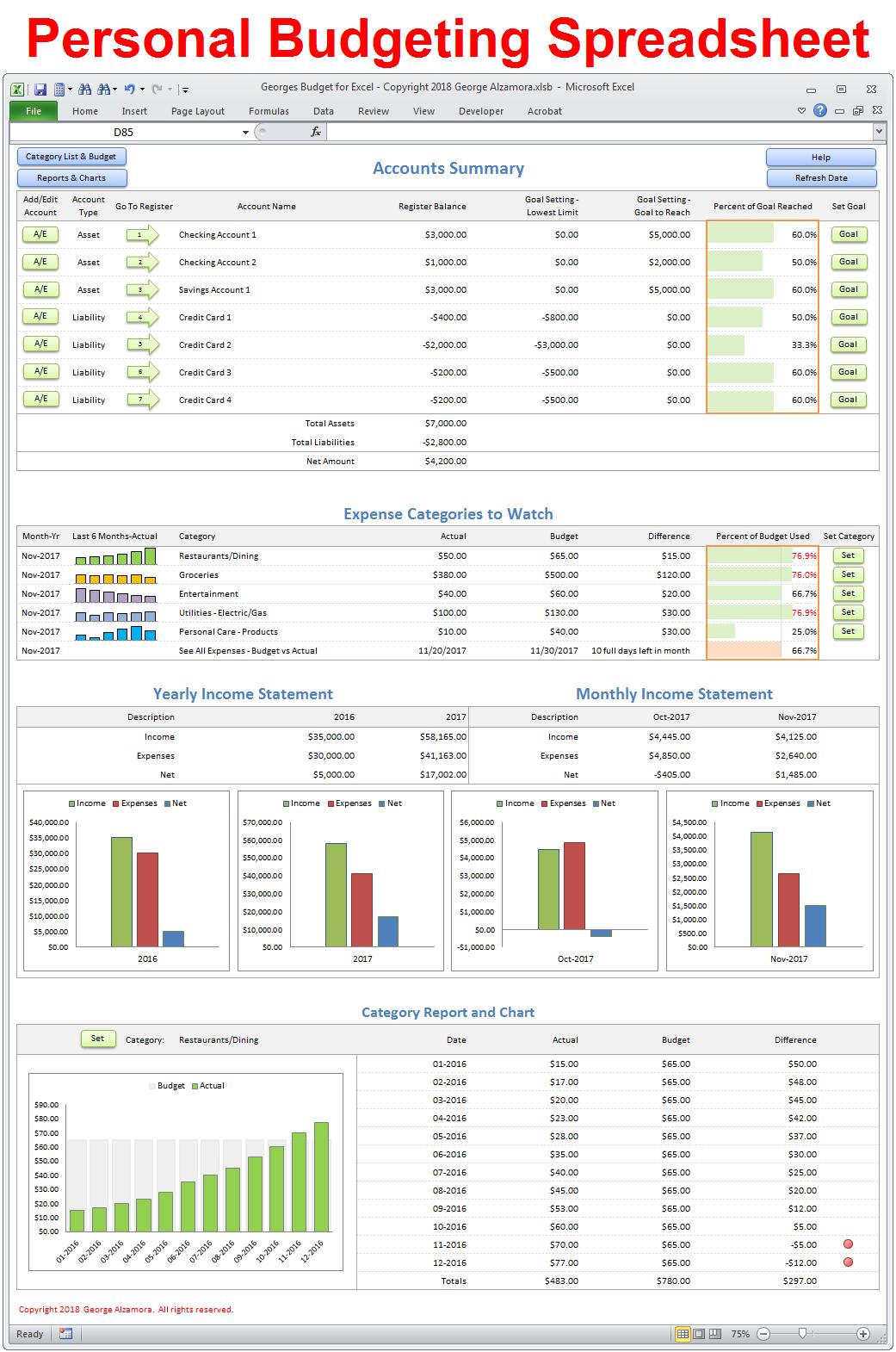 Georges Budget For Excel V12 0