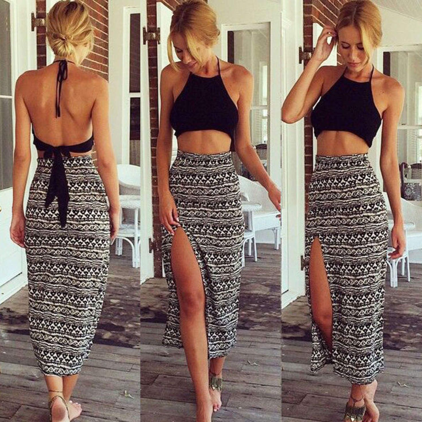 Black Backless Halter Crop Top and Maxi Skirt with Side Slit Two ...