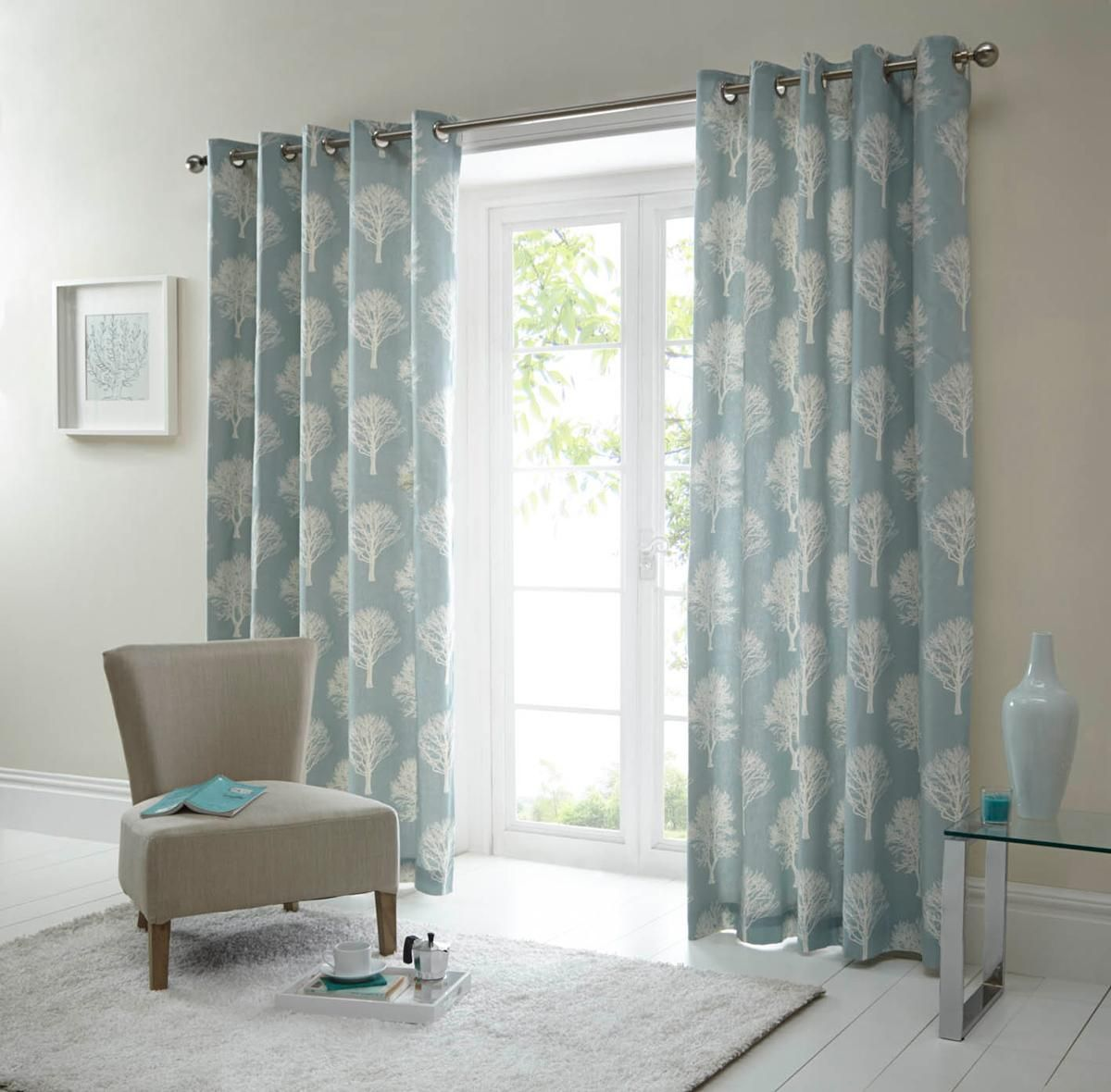Woodland Ready Made Eyelet Curtains Duck Egg Blue Tree Curtains