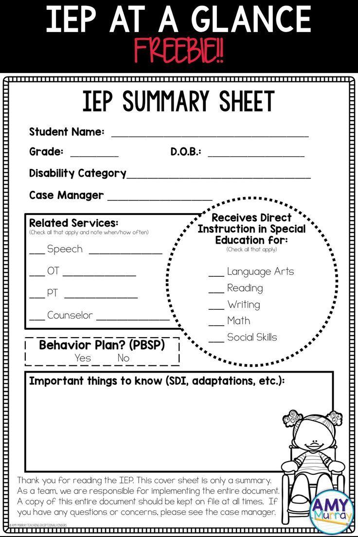 FREE IEP Summary Sheet | Ideas for Teaching - Teacher Pinning ...