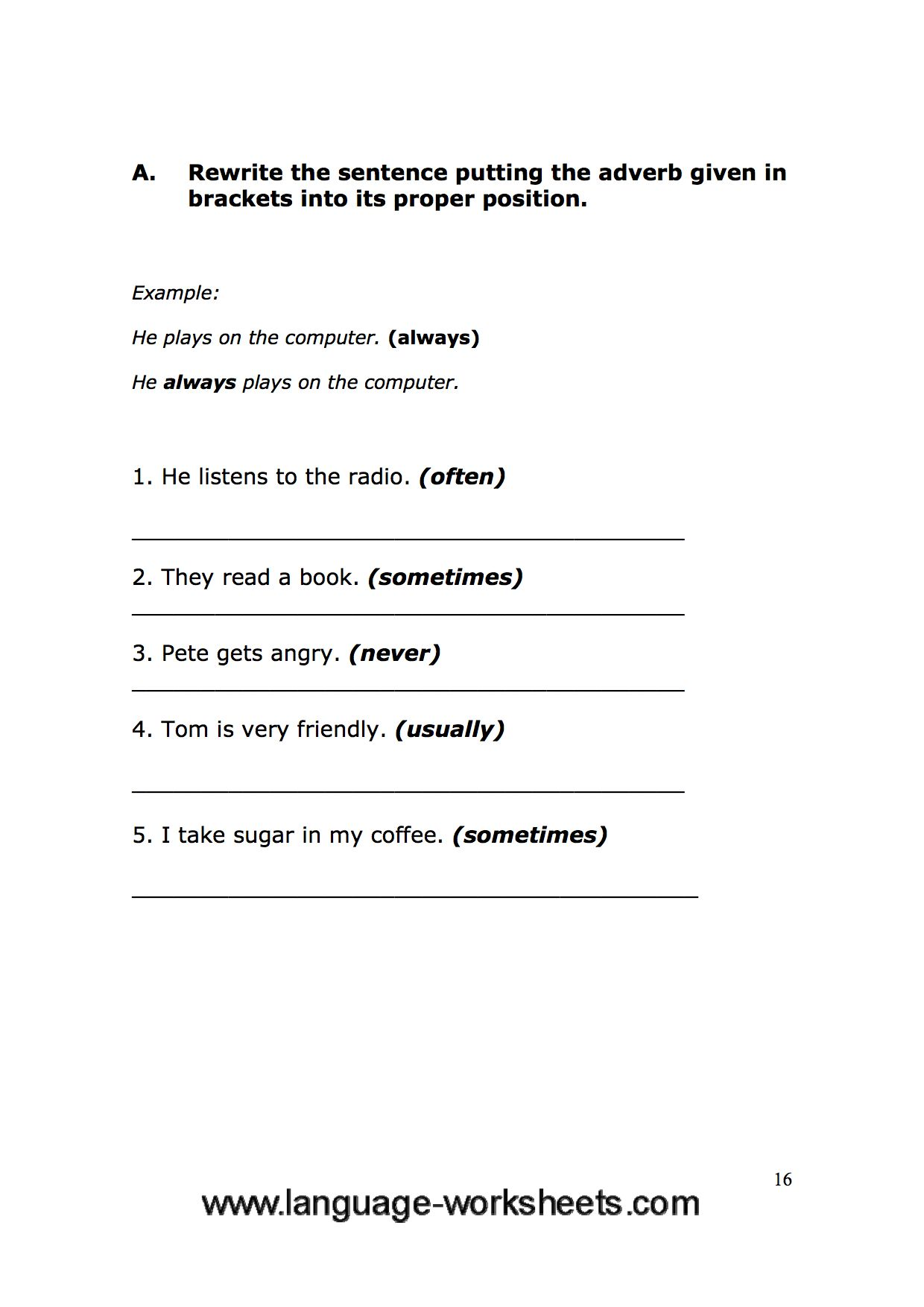 Grammar Worksheets 16
