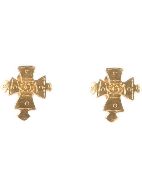 Chanel Vintage clip on cross earrings