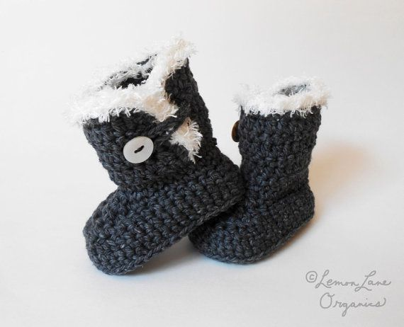 Santa Infant//Toddler Booties with Faux Fir Trim