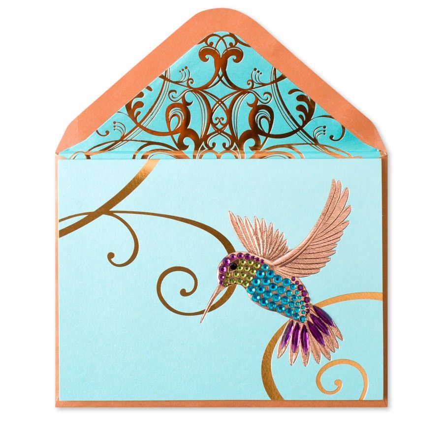 Hummingbird on teal blank card hummingbird handmade greetings and our unique greeting card collection includes custom handmade designs with distinctive embellishments buy greeting cards online now at papyrus kristyandbryce Choice Image