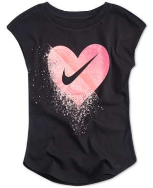 54504a603 Nike Toddler Girls Glitter Swoosh Graphic-Print T-Shirt - Black 4T ...