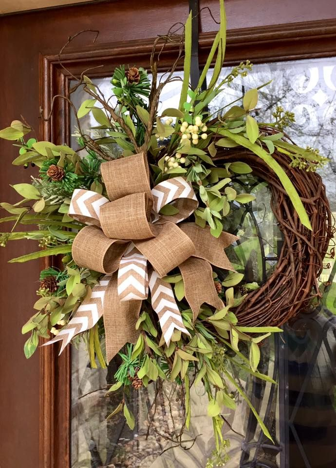 grapevine floral wreath with burlap bow summer/spring year ...