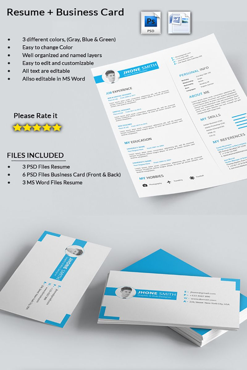 Graphic Designer CV with Business Card Resume Template