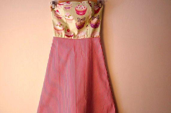 Strapless Cupcake And Stripes DressCotton Summer by CruelCandy, €55.00