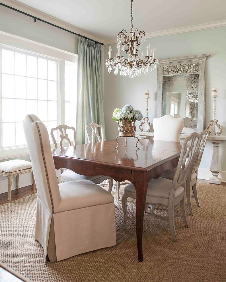Sherwin Williams Sea Salt Victorian Dining Room with Baseboard fun
