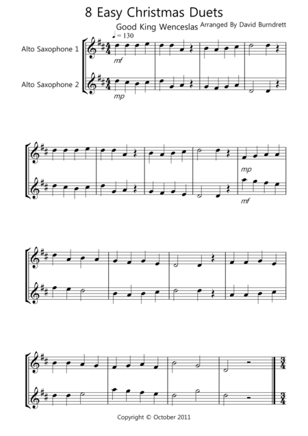 8 Easy Christmas Duets For Alto Saxophone Christmas Duets Sheet Music Digital Sheet Music