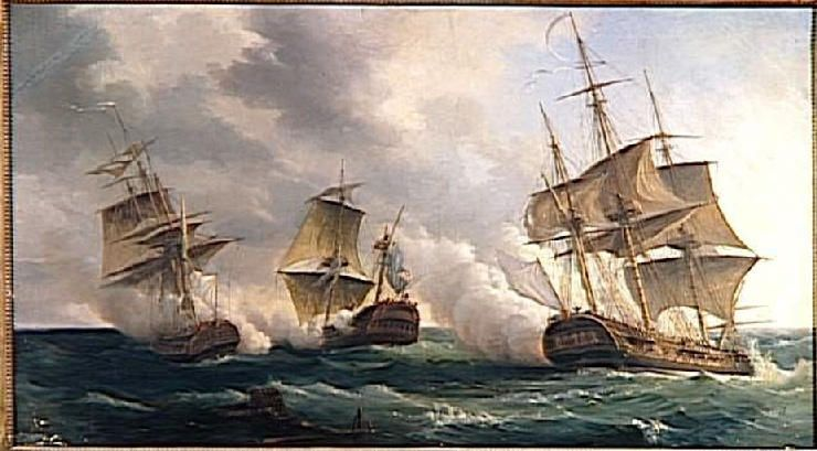 """""""Combat des frégates francaises La Nymphe et L'Amphitrite contre le vaisseau anglais L'Argo (11 février 1783)"""",  Pierre-Julien Gilbert"""
