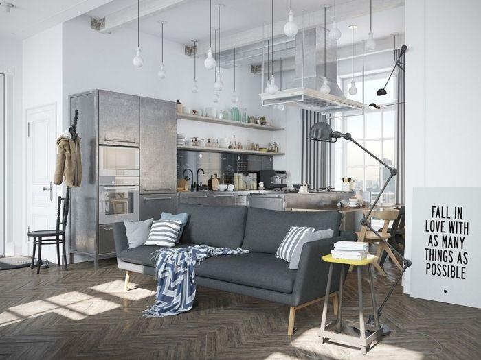 Sofa Grau Wohnzimmer Einrichten Ideen Skandinavischer Stil Pendelleuchten