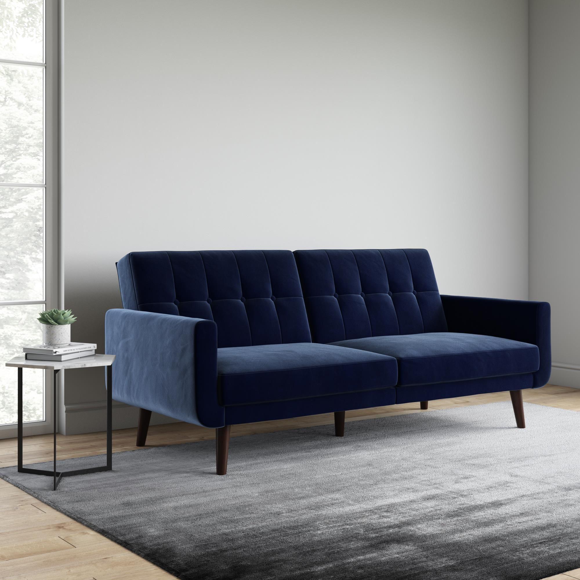 Better Homes And Gardens Nola Modern Futon Blue Velvet Walmart Com Modern Futon Modern Sofa Bed Comfortable Futon