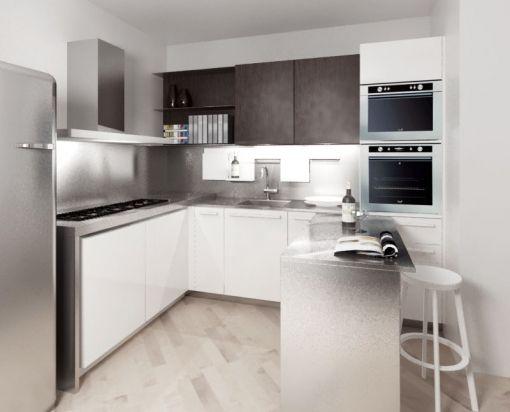 Cucina moderna ad angolo con tavolo scorrevole a scomparsa in acciaio inox arredamento - Cucina con tavolo a scomparsa ...
