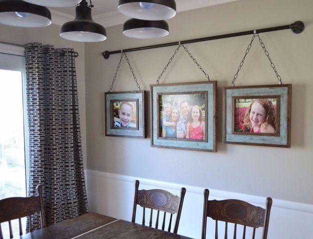 36 DIY Dining Room Decor Ideas | Family photo displays, Bench ...