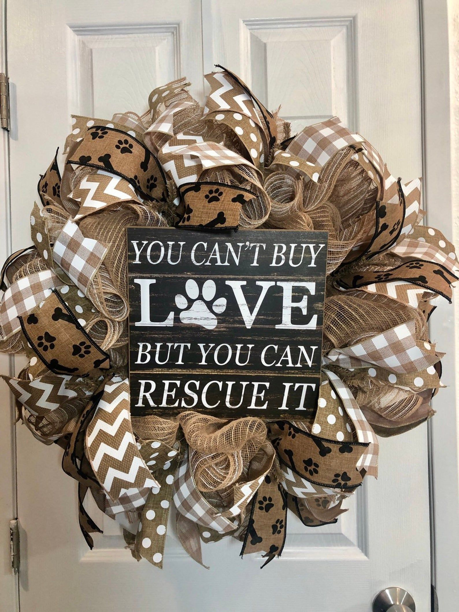 Photo of Dog lover wreath, dog wreath Everyday wreath for Front door, white and tan  burlap wreath, deco mesh wreath