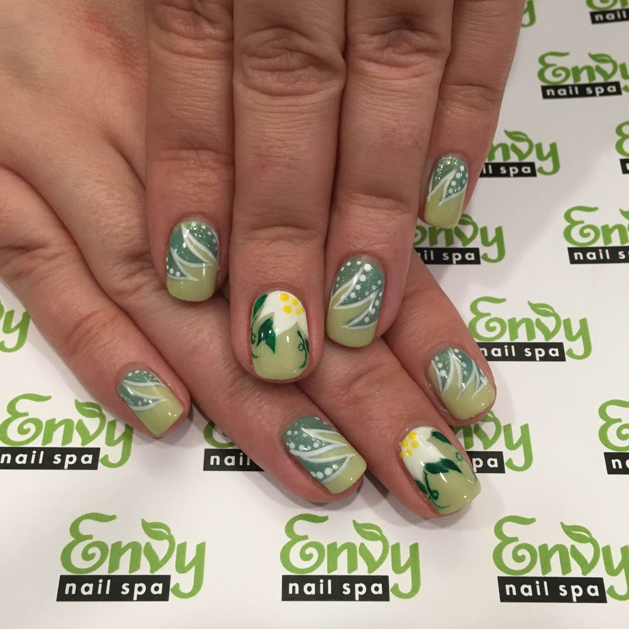 Flowers, Yellow, Green Nails - Envy Nail Spa | Flowers & Butterflies ...