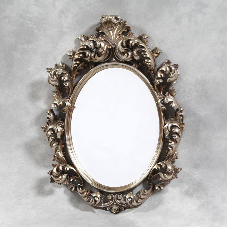 antique oval mirror frame. Large Antique Silver French Rococo Oval Mirror Frame