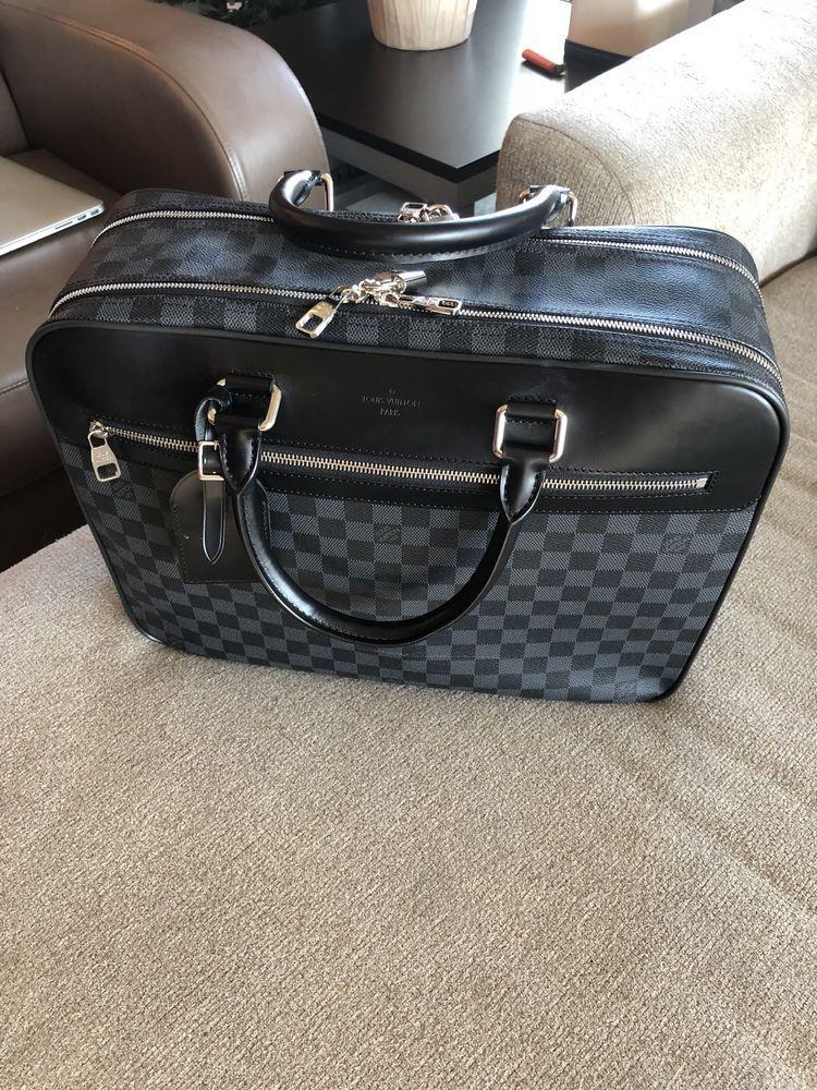 Auth LOUIS VUITTON Damier Graphite Leather Briefcase Laptop Bag Jorn Strap   fashion  clothing  shoes  accessories  mensaccessories  bags (ebay link) 74b7052468af3