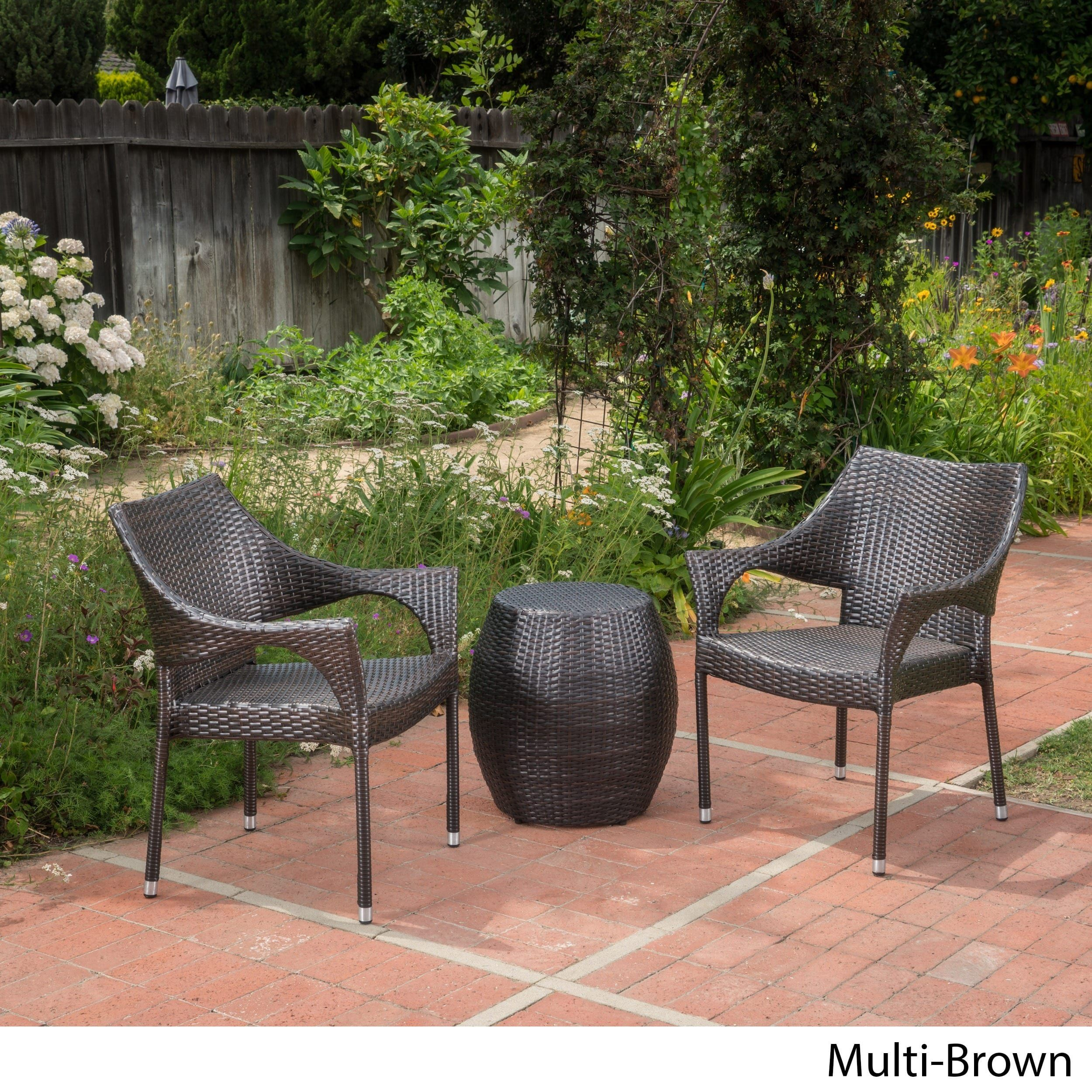 Pierce outdoor piece wicker stacking chair chat set by christopher