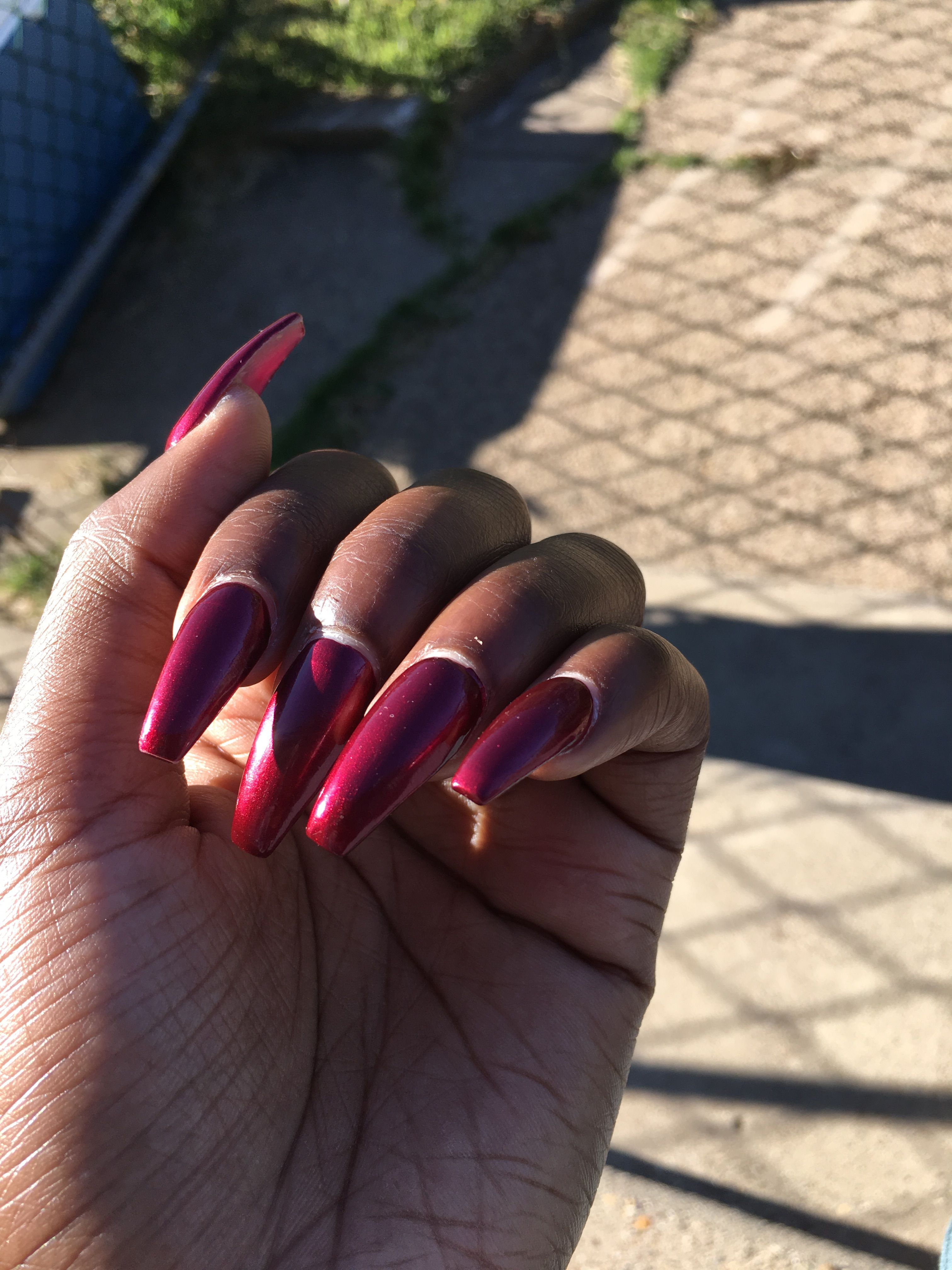 Burgundy Coffin Nails Long Dark Skin