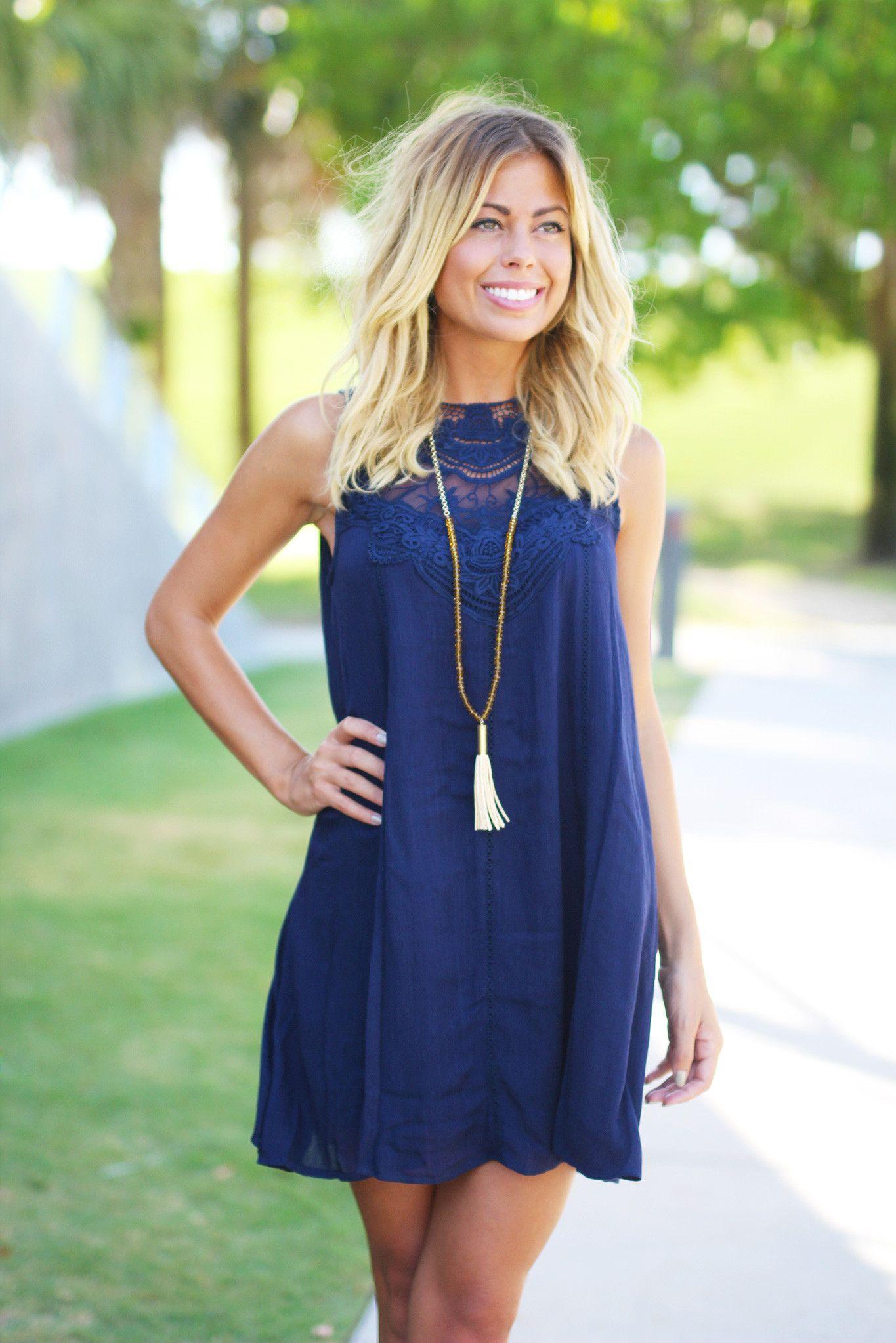 Navy Lace Short Dress