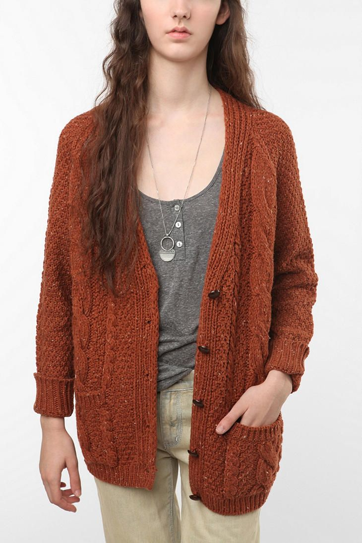 BDG Marled Cable Cardigan [Rust], Urban Outfitters | Things That ...