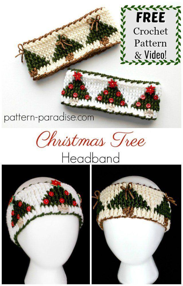 Free Crochet Pattern: Christmas Tree Graph Headband | Pattern ...