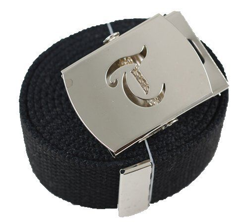 Old English Initial Q Canvas Military Web Black Belt /& Silver Buckle 60 Inch